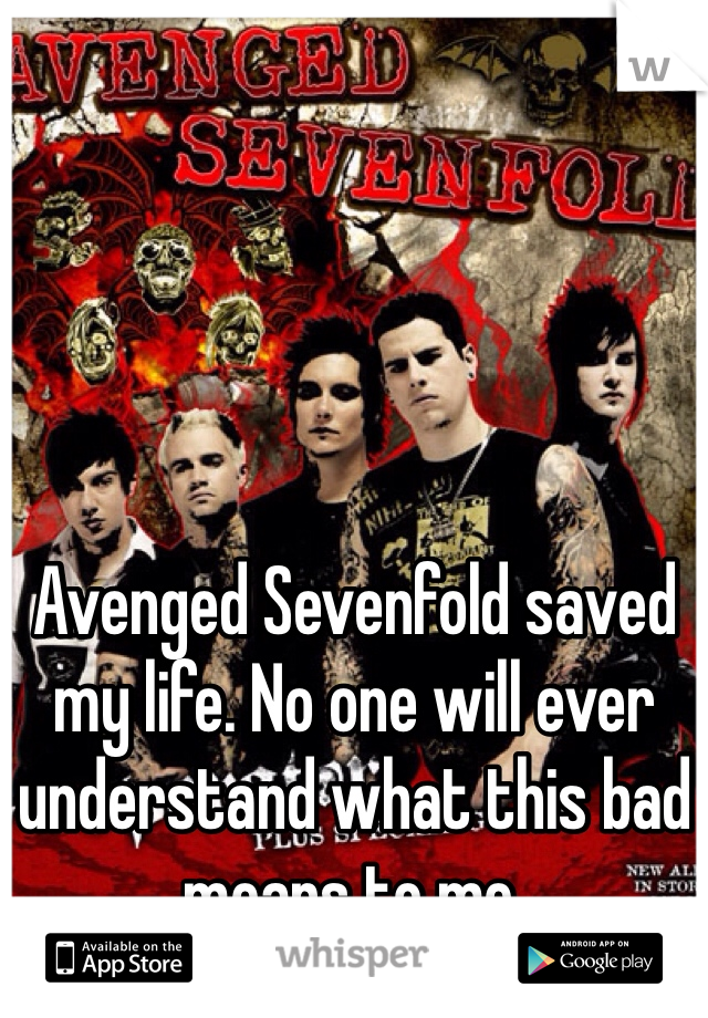 Avenged Sevenfold saved my life. No one will ever understand what this bad means to me.