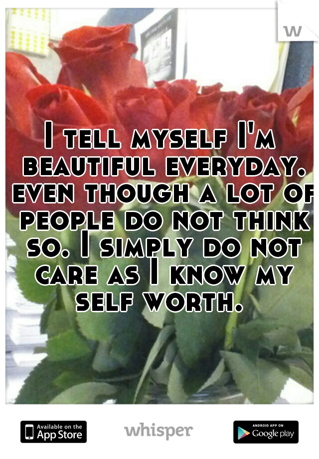 I tell myself I'm beautiful everyday. even though a lot of people do not think so. I simply do not care as I know my self worth.