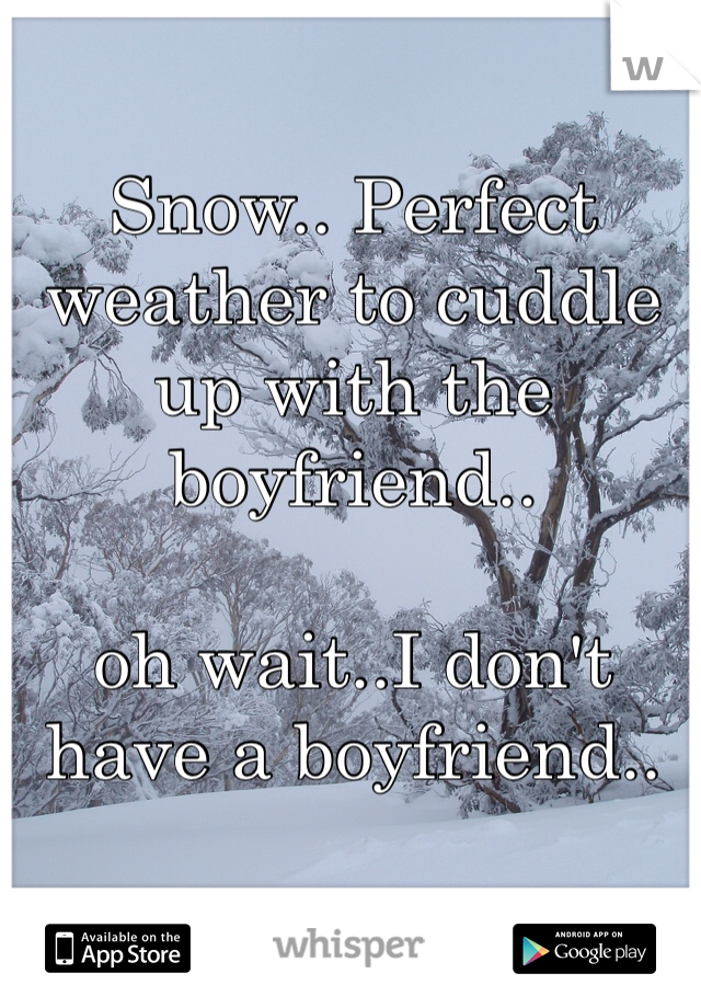Snow.. Perfect weather to cuddle up with the boyfriend..  oh wait..I don't have a boyfriend..