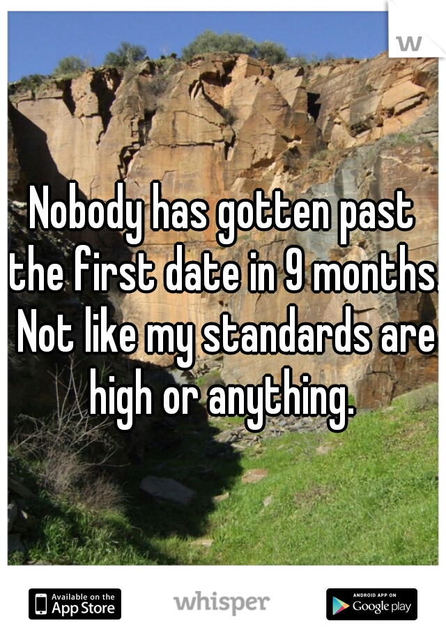 Nobody has gotten past the first date in 9 months. Not like my standards are high or anything.