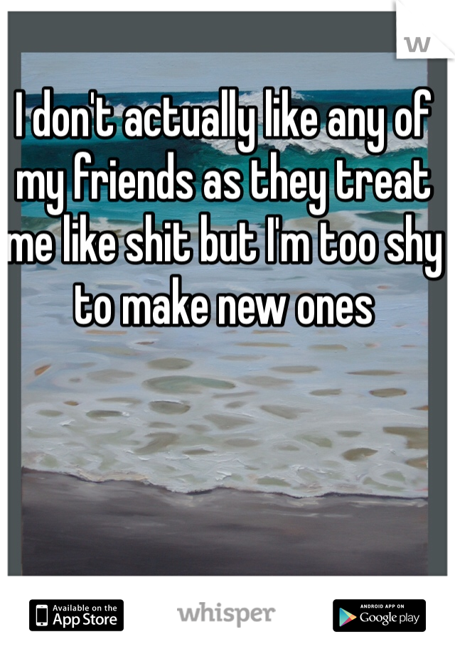 I don't actually like any of my friends as they treat me like shit but I'm too shy to make new ones