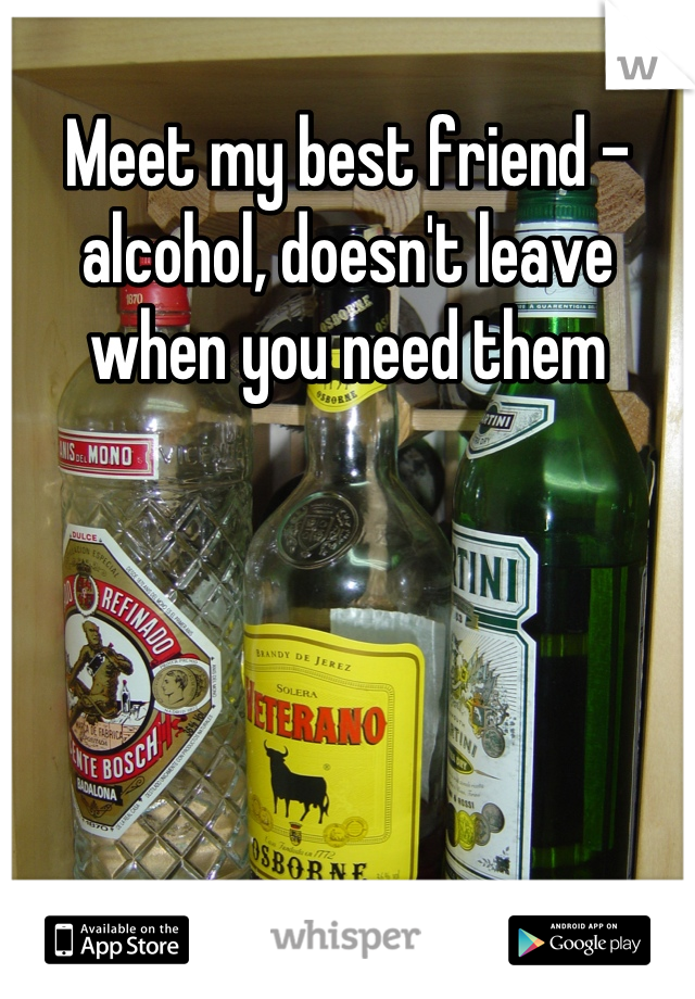 Meet my best friend - alcohol, doesn't leave when you need them