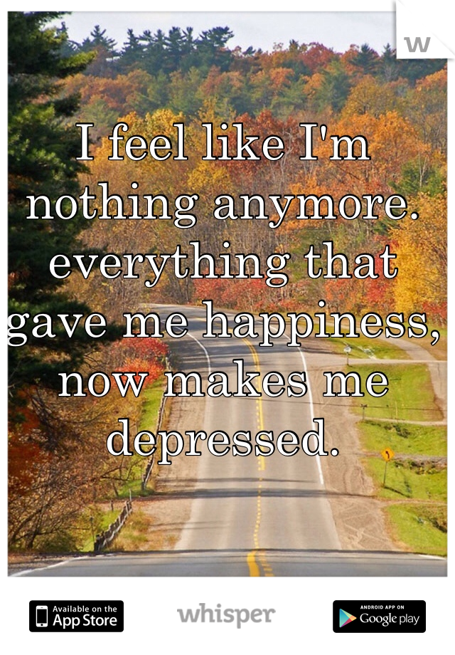 I feel like I'm nothing anymore. everything that gave me happiness, now makes me depressed.