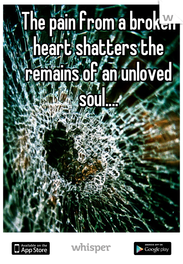 The pain from a broken heart shatters the remains of an unloved soul....