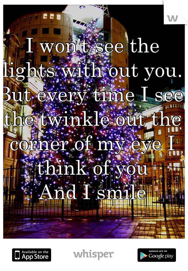 I won't see the lights with out you. But every time I see the twinkle out the corner of my eye I think of you And I smile