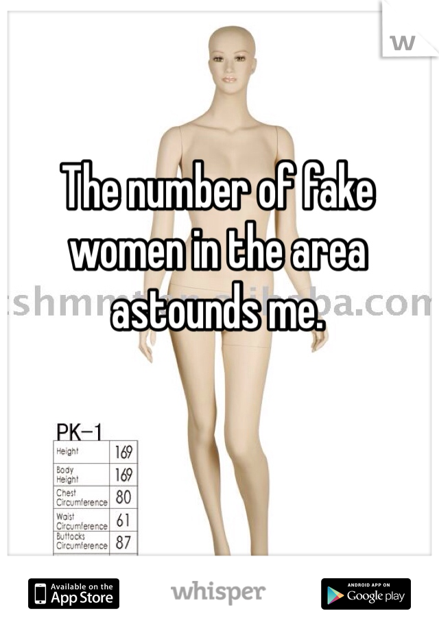 The number of fake women in the area astounds me.