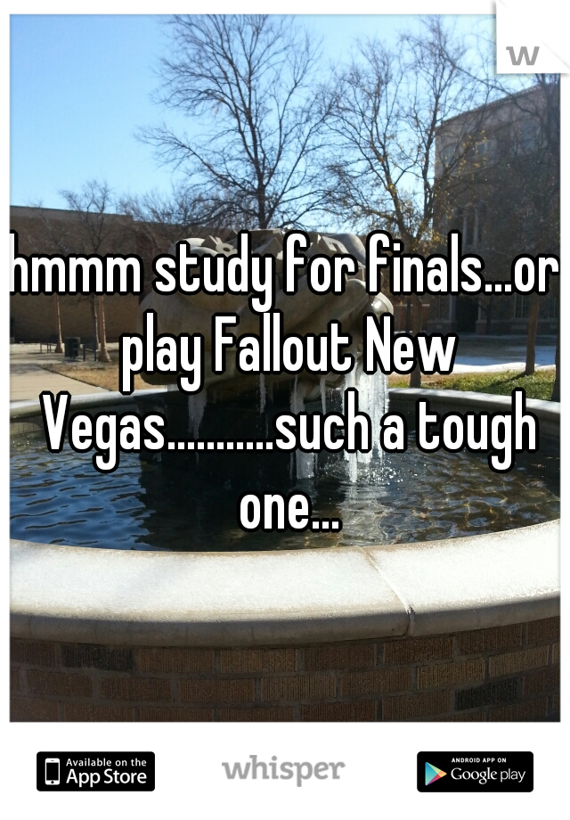 hmmm study for finals...or play Fallout New Vegas...........such a tough one...