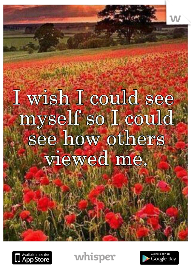 I wish I could see myself so I could see how others viewed me.