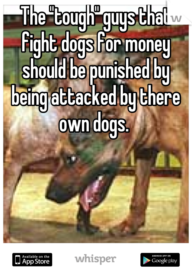 """The """"tough"""" guys that fight dogs for money should be punished by being attacked by there own dogs."""