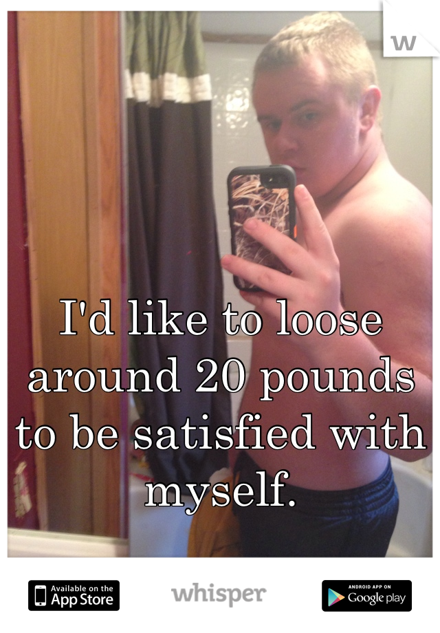 I'd like to loose around 20 pounds to be satisfied with myself.