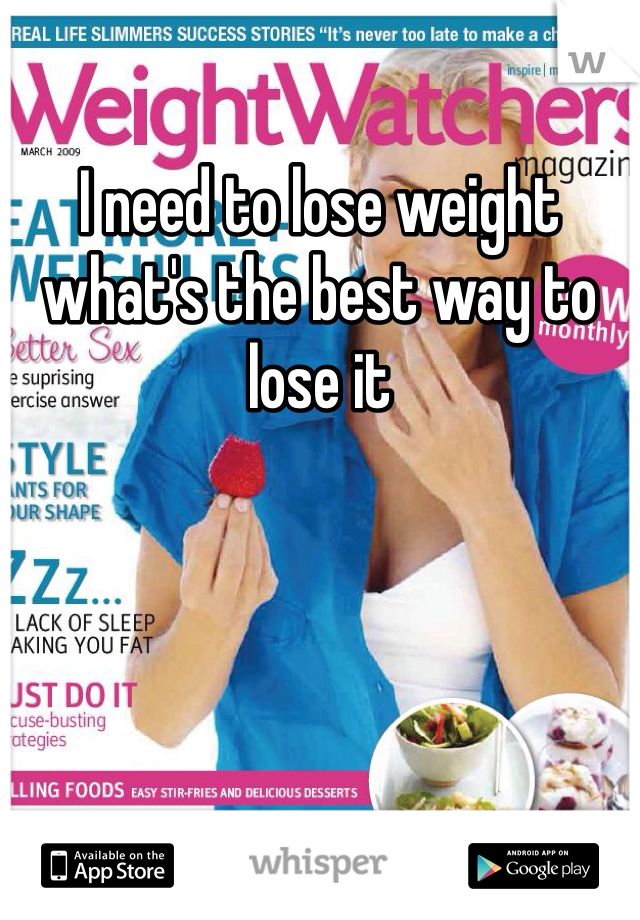I need to lose weight what's the best way to lose it