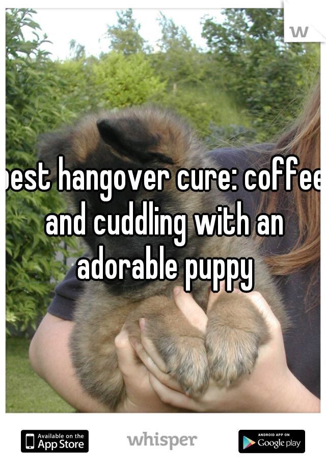 best hangover cure: coffee and cuddling with an adorable puppy