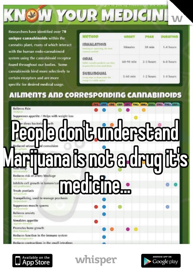 People don't understand Marijuana is not a drug it's medicine...