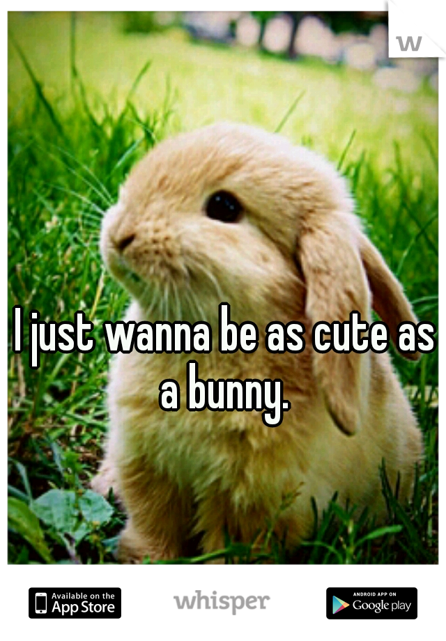 I just wanna be as cute as a bunny.