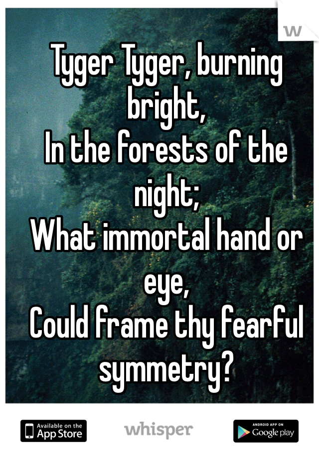 Tyger Tyger, burning bright,  In the forests of the night;  What immortal hand or eye,  Could frame thy fearful symmetry?