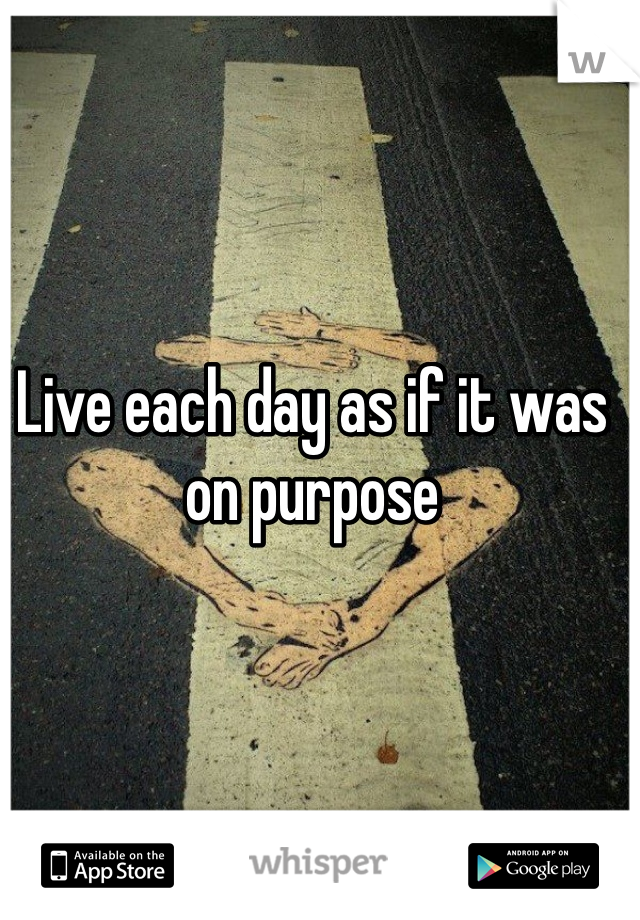 Live each day as if it was on purpose