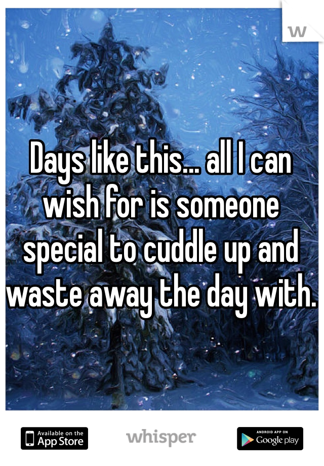 Days like this... all I can wish for is someone special to cuddle up and waste away the day with.