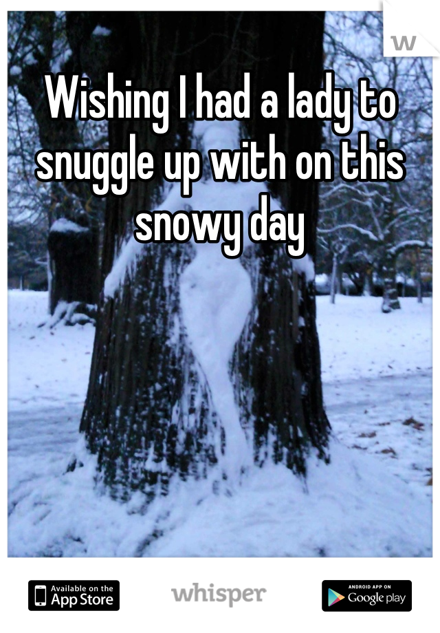 Wishing I had a lady to snuggle up with on this snowy day