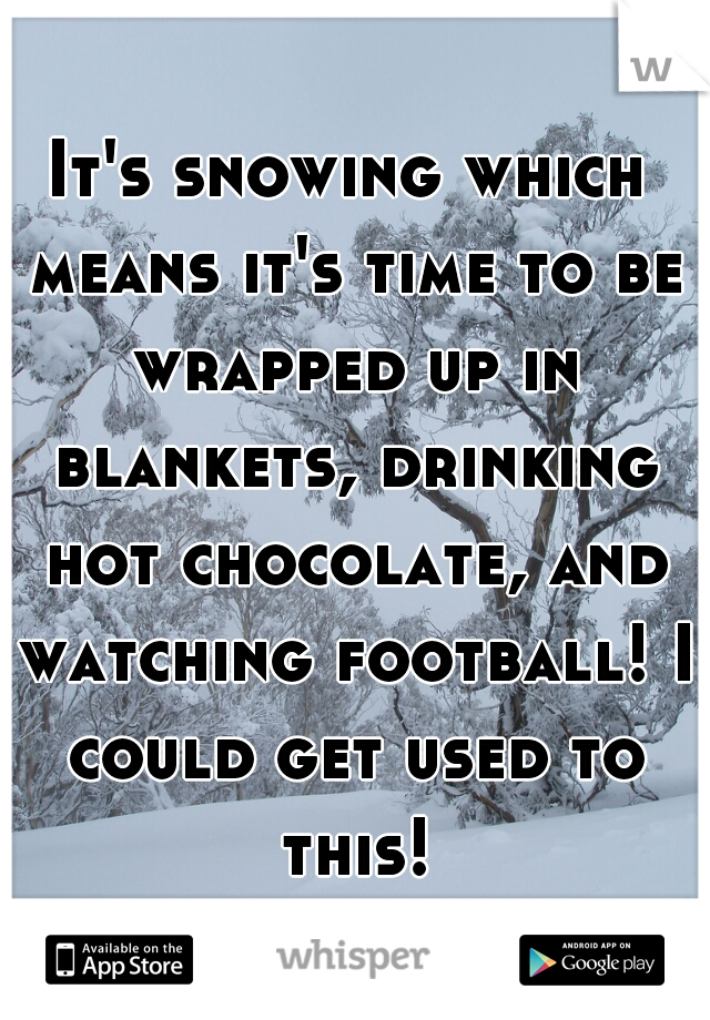 It's snowing which means it's time to be wrapped up in blankets, drinking hot chocolate, and watching football! I could get used to this!