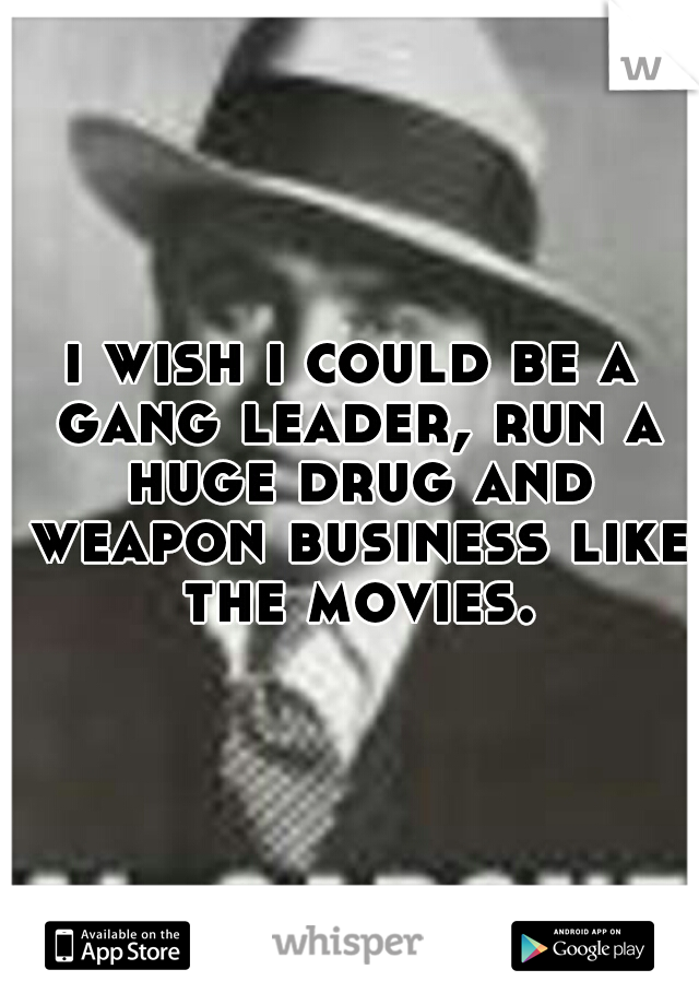 i wish i could be a gang leader, run a huge drug and weapon business like the movies.