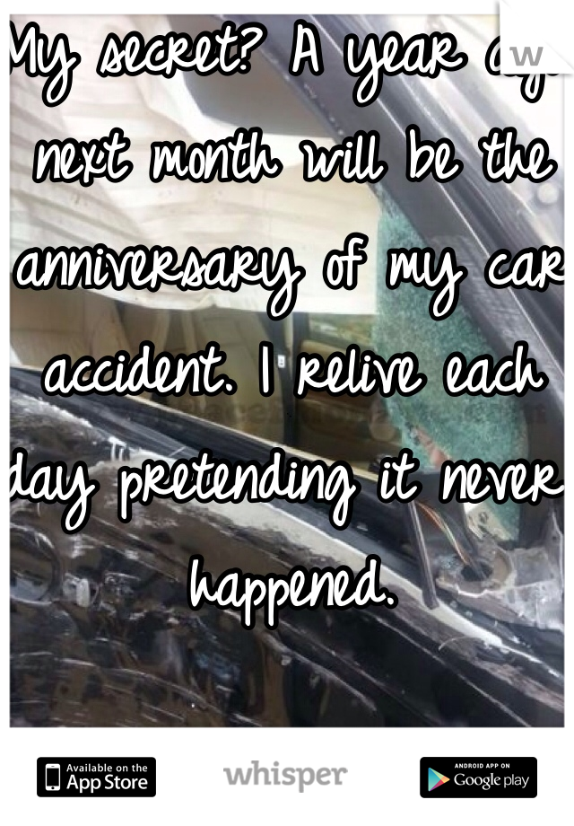 My secret? A year ago next month will be the anniversary of my car accident. I relive each day pretending it never happened.