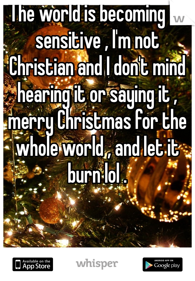 The world is becoming to sensitive , I'm not Christian and I don't mind hearing it or saying it , merry Christmas for the whole world , and let it burn lol .