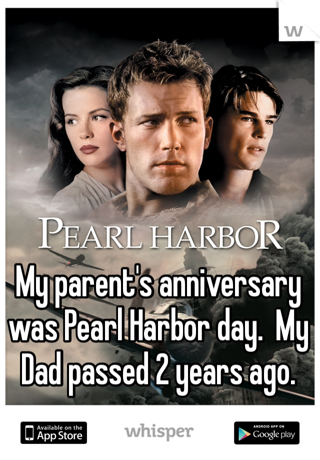 My parent's anniversary was Pearl Harbor day.  My Dad passed 2 years ago.