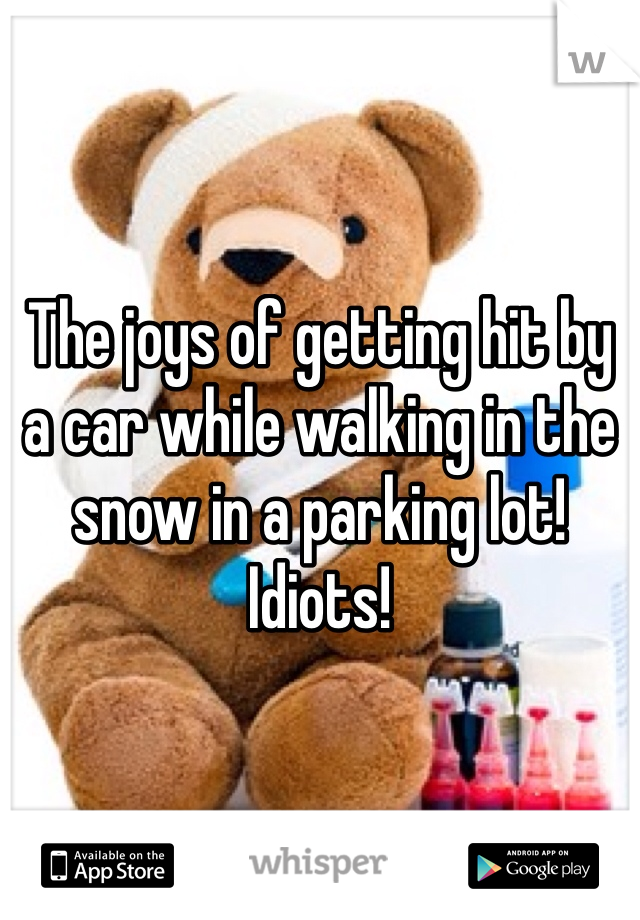 The joys of getting hit by a car while walking in the snow in a parking lot! Idiots!