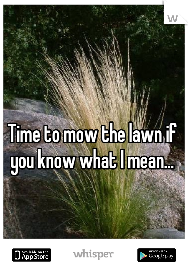 Time to mow the lawn if you know what I mean...