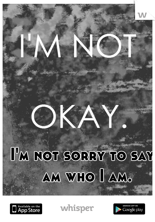 I'm not sorry to say I am who I am.