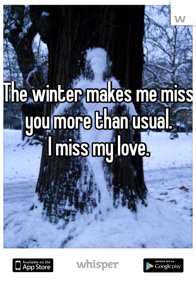The winter makes me miss you more than usual.  I miss my love.
