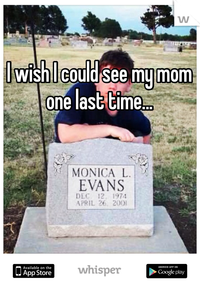 I wish I could see my mom one last time...
