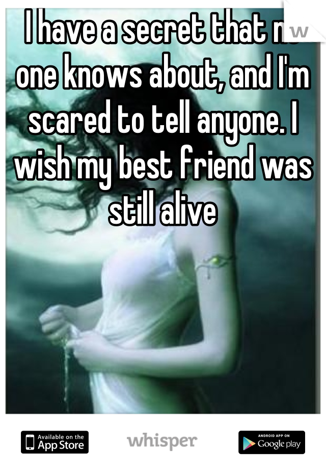 I have a secret that no one knows about, and I'm scared to tell anyone. I wish my best friend was still alive