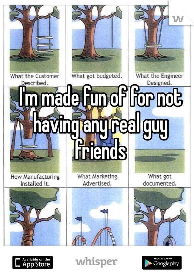 I'm made fun of for not having any real guy friends