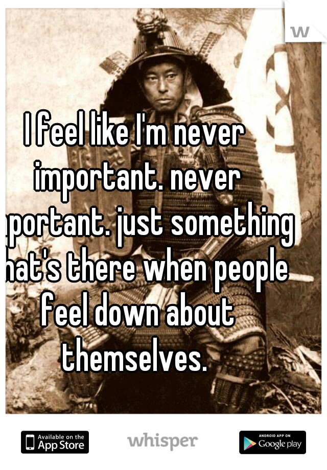 I feel like I'm never important. never important. just something that's there when people feel down about themselves.
