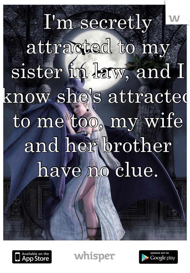 I'm secretly attracted to my sister in law, and I know she's attracted to me too, my wife and her brother have no clue.