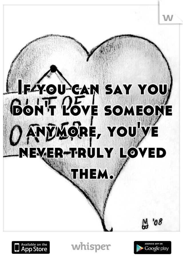 If you can say you don't love someone anymore, you've never truly loved them.
