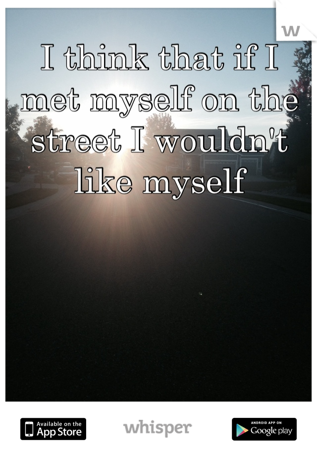 I think that if I met myself on the street I wouldn't like myself
