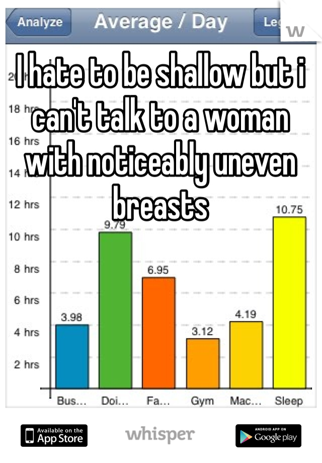 I hate to be shallow but i can't talk to a woman with noticeably uneven breasts