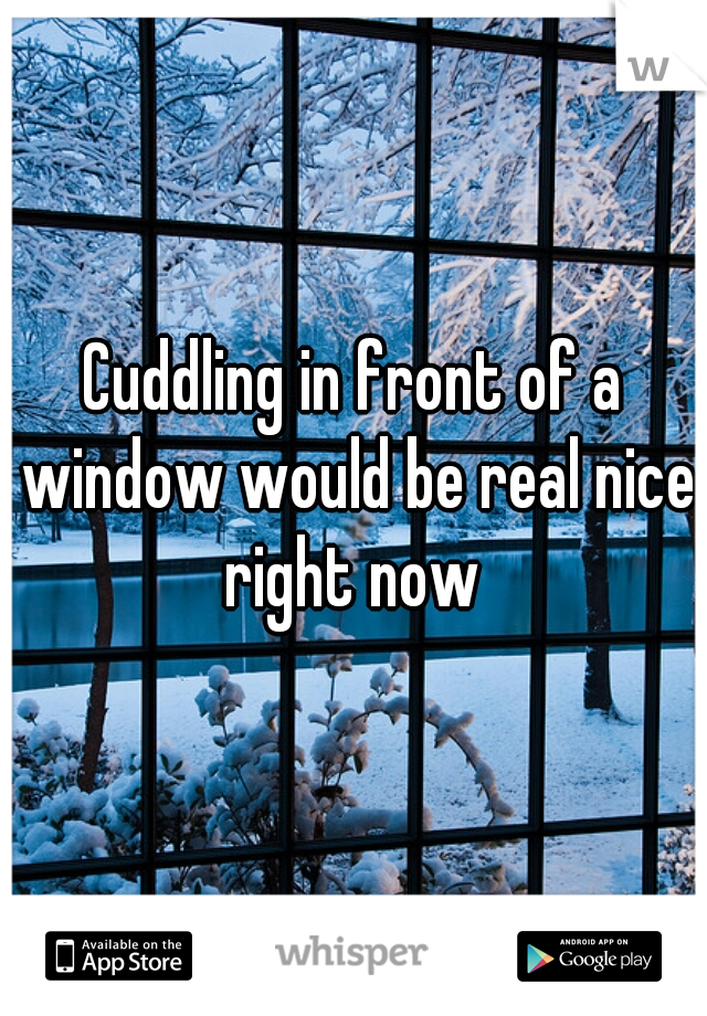 Cuddling in front of a window would be real nice right now