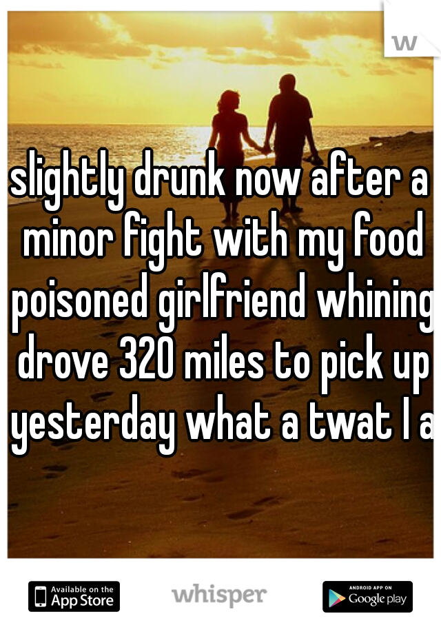 slightly drunk now after a minor fight with my food poisoned girlfriend whining drove 320 miles to pick up yesterday what a twat I am