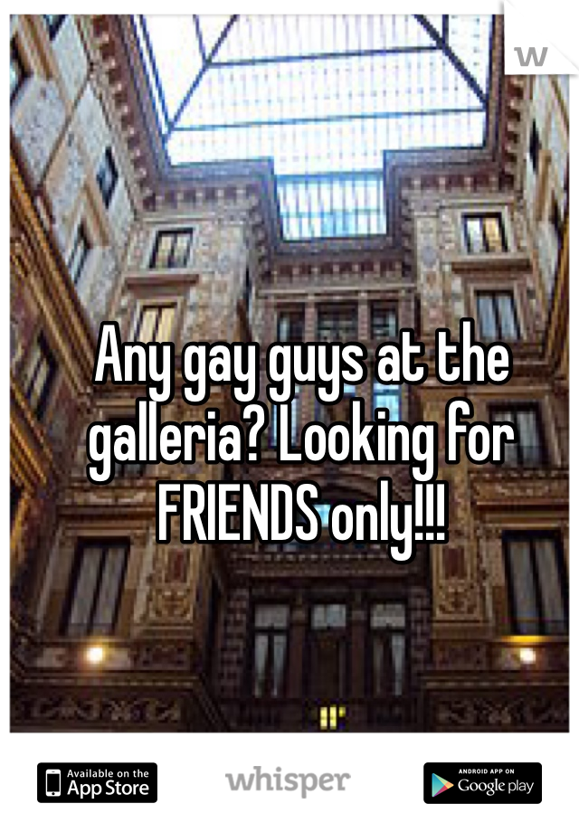 Any gay guys at the galleria? Looking for FRIENDS only!!!