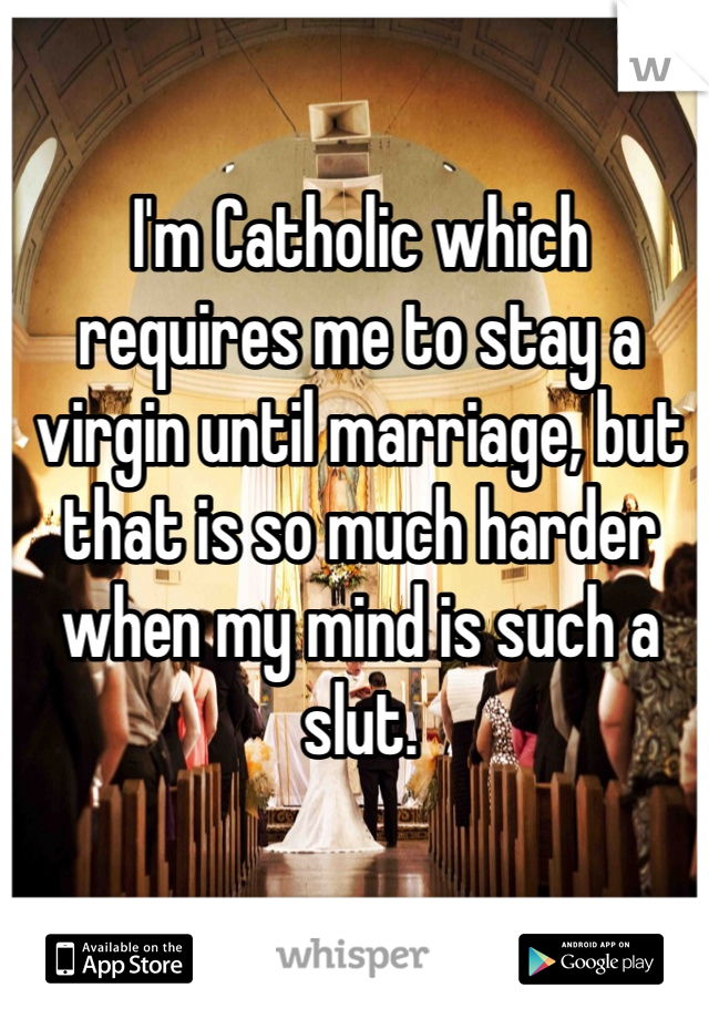 I'm Catholic which requires me to stay a virgin until marriage, but that is so much harder when my mind is such a slut.