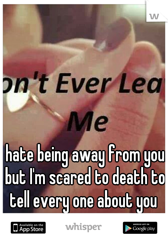 I hate being away from you. but I'm scared to death to tell every one about you