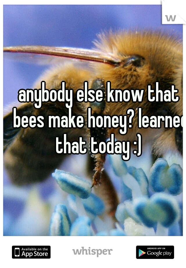 anybody else know that bees make honey? learned that today :)