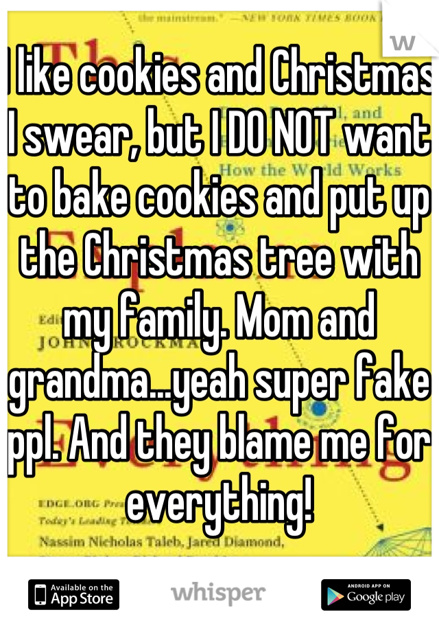 I like cookies and Christmas I swear, but I DO NOT want to bake cookies and put up the Christmas tree with my family. Mom and grandma...yeah super fake ppl. And they blame me for everything!