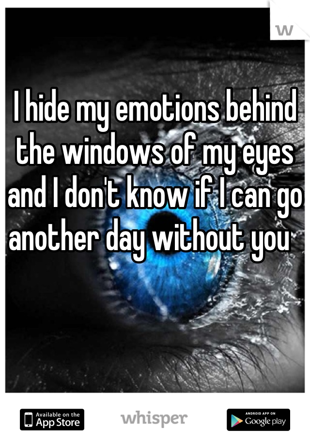 I hide my emotions behind the windows of my eyes and I don't know if I can go another day without you