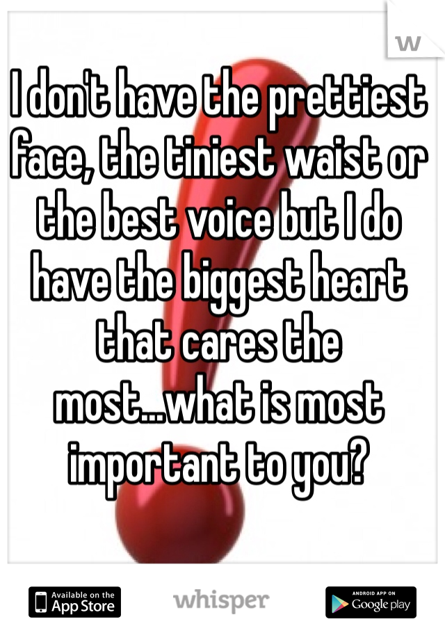 I don't have the prettiest face, the tiniest waist or the best voice but I do have the biggest heart that cares the most...what is most important to you?