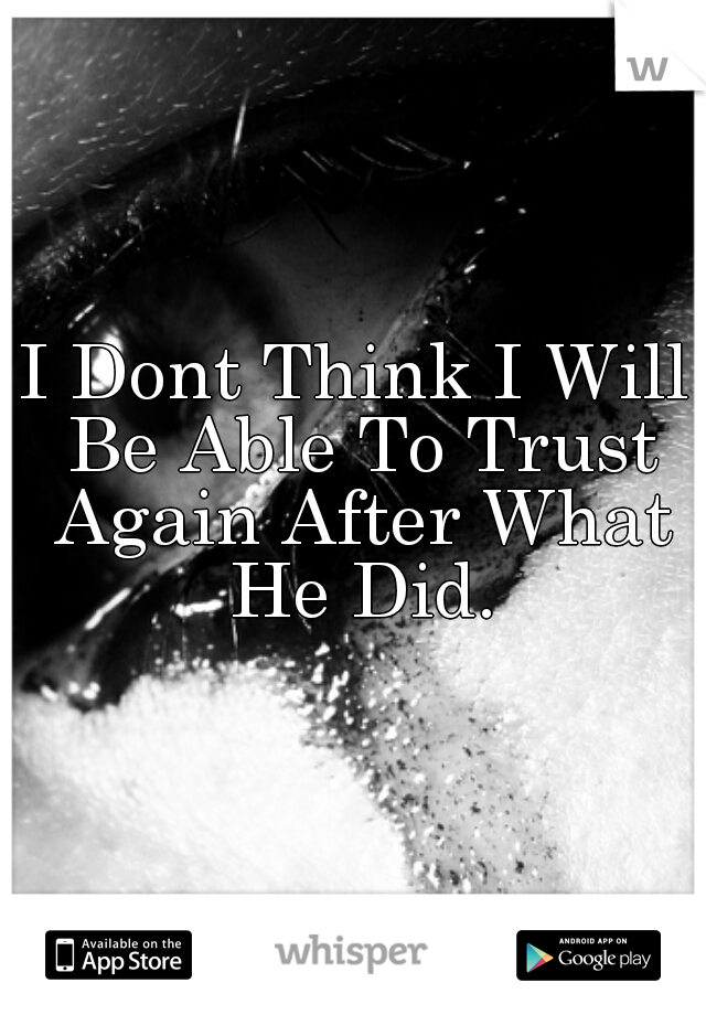 I Dont Think I Will Be Able To Trust Again After What He Did.