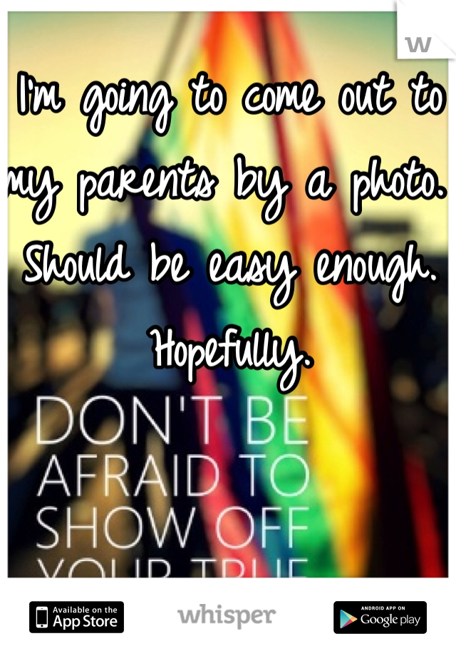 I'm going to come out to my parents by a photo. Should be easy enough. Hopefully.